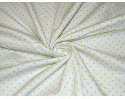 Хлопок белый в зелёный горошек 0101