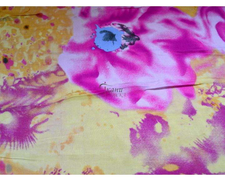 """Штапель набивной """"Розовые цветы на желтом"""" 0020"""