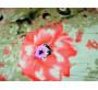 """Штапель набивной """"Красные цветы на оливковом"""" 0021"""