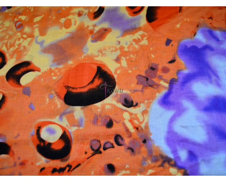 """Штапель набивной """"Синие цветы на оранжевом"""" 0022"""