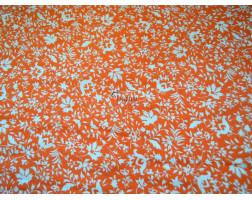 """Штапель набивной """"Осенние цветы на оранжевом"""" 0023"""