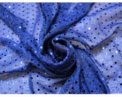 Сетка с пайетками синяя 0004