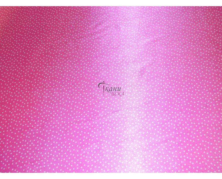 """Атлас набивной """"Мелкий горох на розовом"""" 0035"""