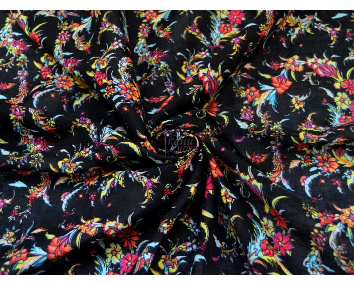 Штапель яркие цветы 0058