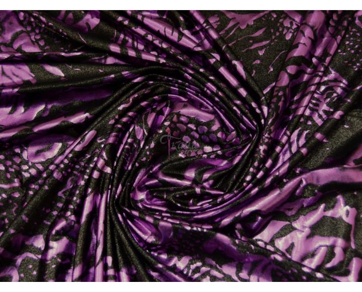 Трикотаж диско лиловый с чёрным 0062