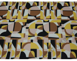 Плательная ткань желто-кричневая геометрический принт