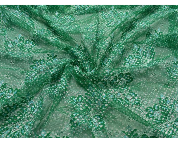 Гипюр зеленый с белым 00050
