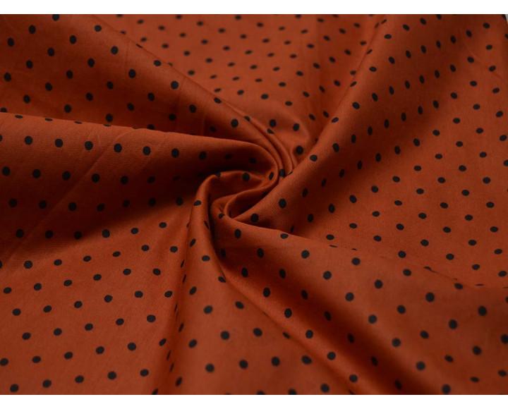 Хлопок набивной Оранжевый В Черный горох 00031