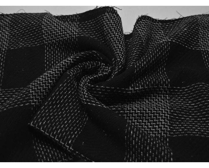 Костюмная ткань Клетка Черно-Белая 00041