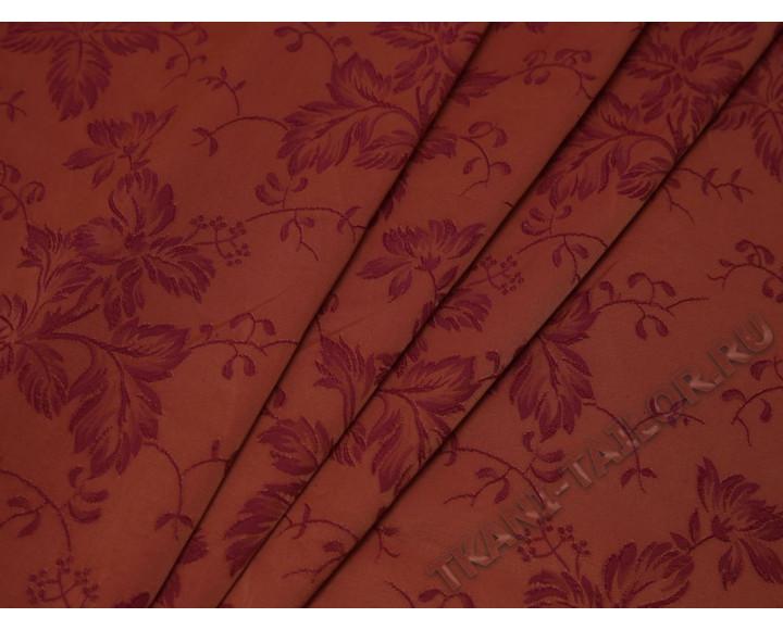 Жаккард красно-оранжевый с принтом листья