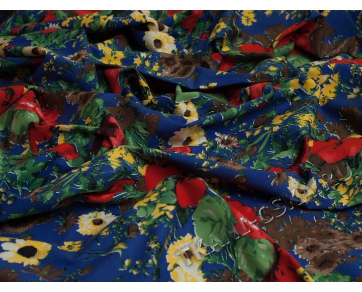 Джинс набивной Цветы и листья