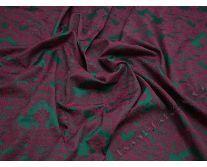 Жаккард стрейч с рисунком цвет фуксия