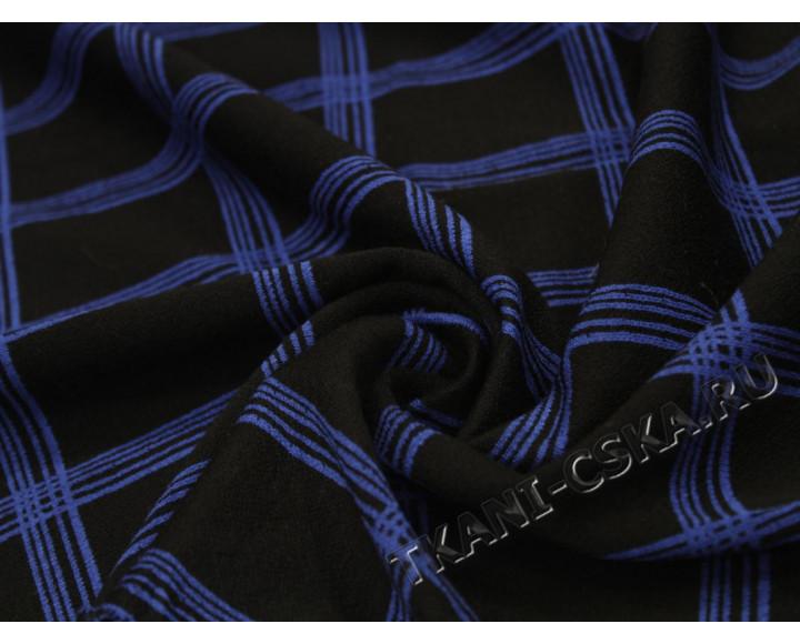 Трикотаж  чёрно-синий  Клетка