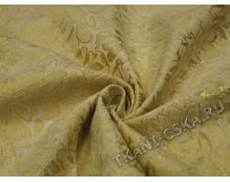 Жаккард  бежево-золотой Цветы