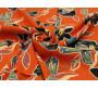 Шифон набивной оранжевый Цветочный