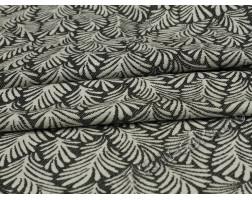 Трикотаж черно-белый Листья