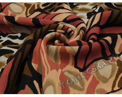 Шифон чёрно-розовый-коричневый Абстракция