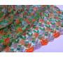 Сетка оранжево-зеленая с пайетками, вышивкой и люрексом