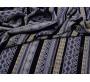 Плательная серо-чёрная в полоску с орнаментом
