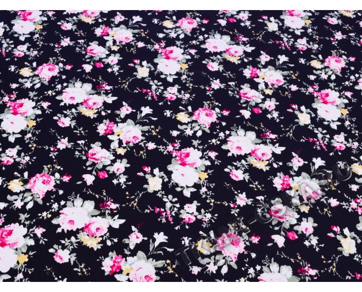 Хлопок черного цвета  с цветочным узором