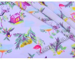 Хлопок белого цвета  Тигры, попугаи  и листья