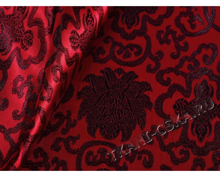 Китайский шелк красный с черным узором Гретхен