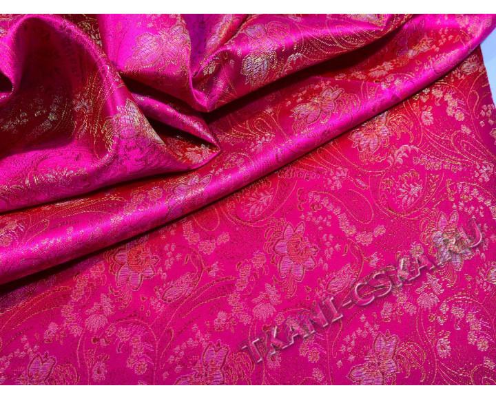 Китайский шелк Фуксия с цветами