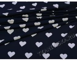 Шифон тёмно-синий Белое сердце