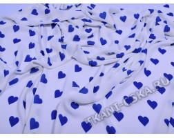 Шифон белый  Синие сердечки