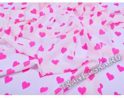 Шифон белый Розовые сердечки