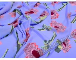 Шифон голубой с цветочным узором Амартис