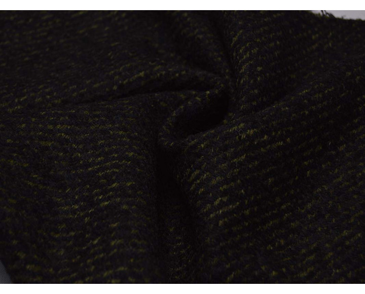 Пальтовая ткань черная в темно-зеленую крапинку 00044