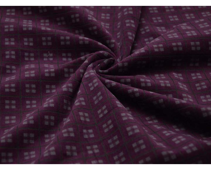 Костюмная ткань Фиолетовая Клетка С Серым 00056