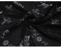 Шифон Набивной Белые Цветы На Черном 00110