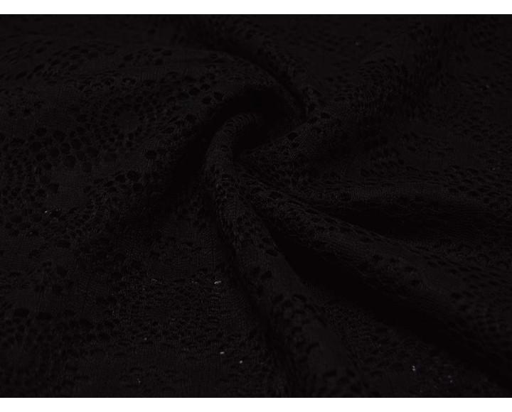 Гипюр Черный С Геометрическим Рисунком 00057