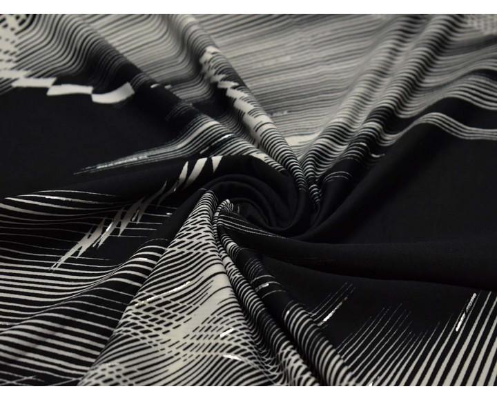 Трикотаж набивной  Черно-белый узор 00007