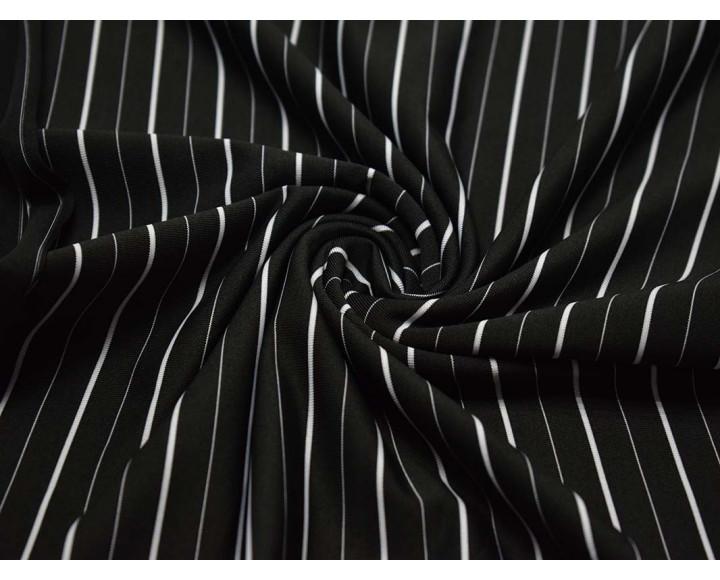 Трикотаж набивной  Черный в белую полоску 00138