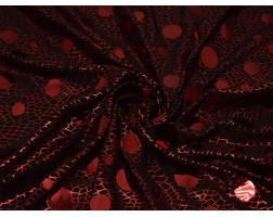 Трикотаж диско черный в красный горох 0053