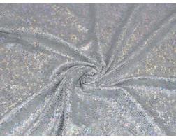 Трикотаж диско белый с серебром 0078