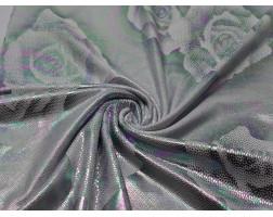 Трикотаж диско белый с серебристыми розами 0087