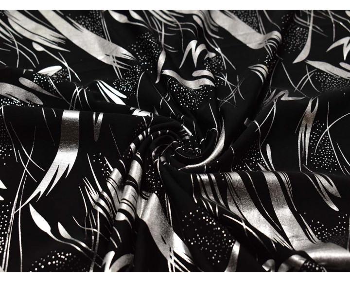 Трикотаж черный с серебристым рисунком 00036