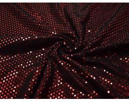 Трикотаж диско черный в красный горох 0116