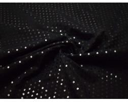 Трикотаж диско черный в черный горох 0090