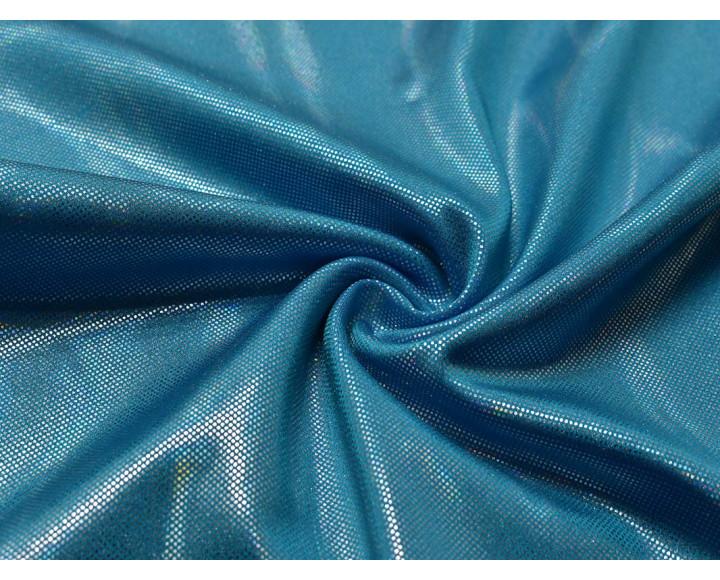 Трикотаж диско голубой с серебром 0077