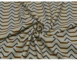 Трикотаж белый с черным и коричневым геометрическим узором 00005