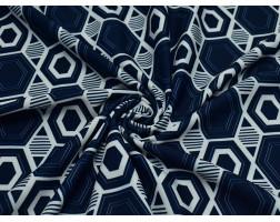 Трикотаж сине-белый с геометрическим узором 00052