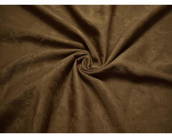 Жаккард коричневый с цветами 00043