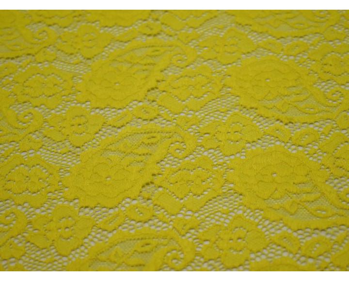 Гипюр стрейч желтый узор огурцы 00110