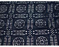 Гипюр стрейч темно-синий геометрический узор 00108