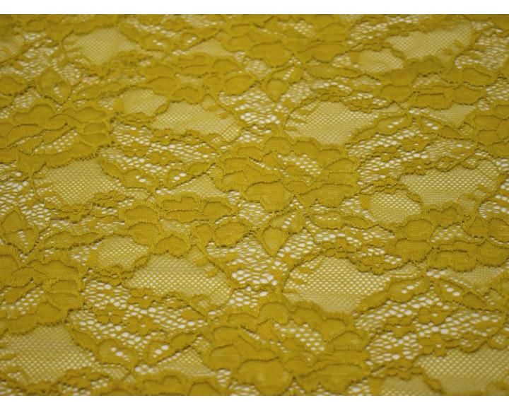 Гипюр стрейч темно-желтый 00133